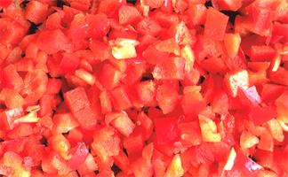 Paprika rød ternent 0,5 kg