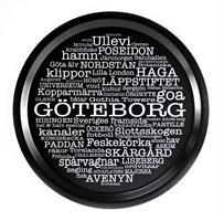 Bricka rund 31 cm, Göteborg, svart/vit text