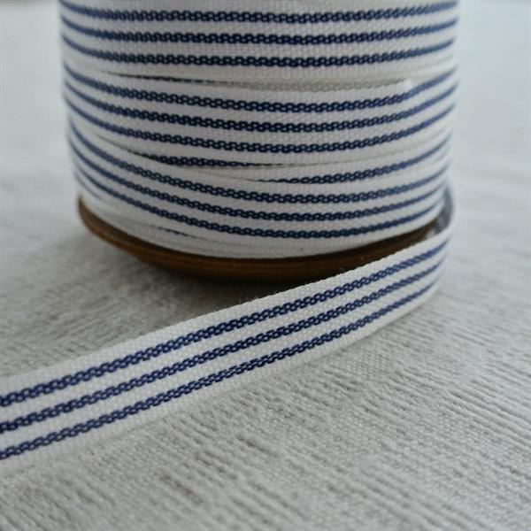 Vit/blå randigt bomullsband 10mm