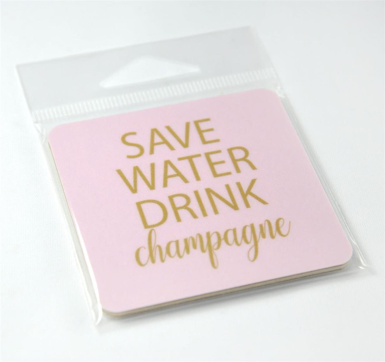 Magneter, Save water, rosa/guldtext