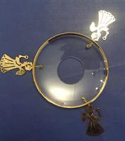 Mansjett m/messing engler og gullkant, 8cm