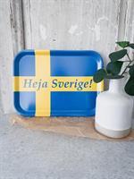 Bricka 27x20 cm, Heja Sverige, blå/blå-gul text