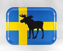 Bricka 27x20 cm, Älg, svenska flaggan