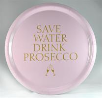 Bricka rund 31 cm, Prosecco, rosa/guldtext