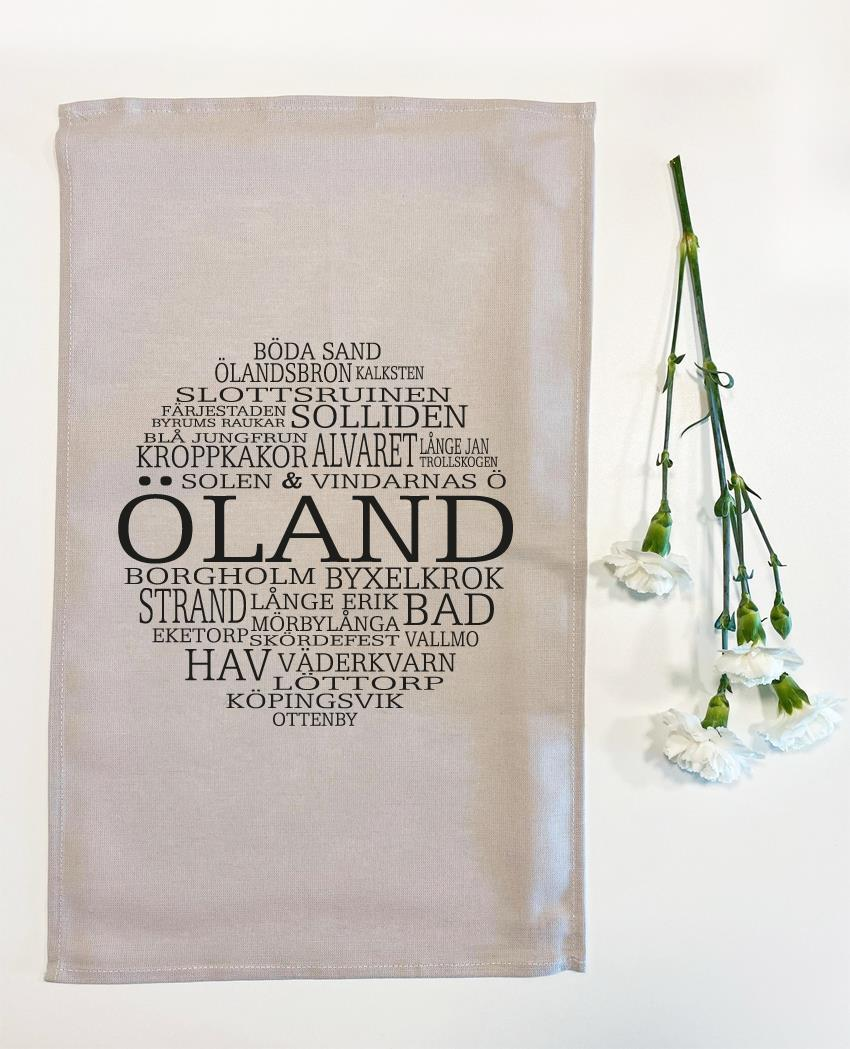 Kökshandduk, Öland, grå/svart text