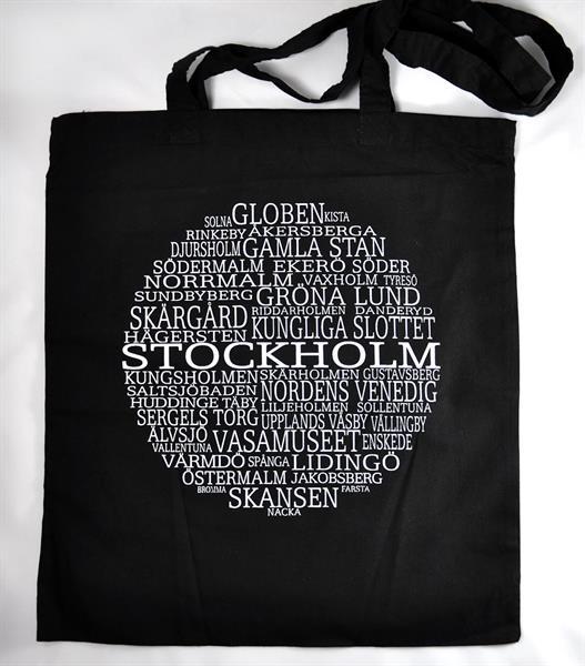 Tygkasse, Stockholm, svart/vit text
