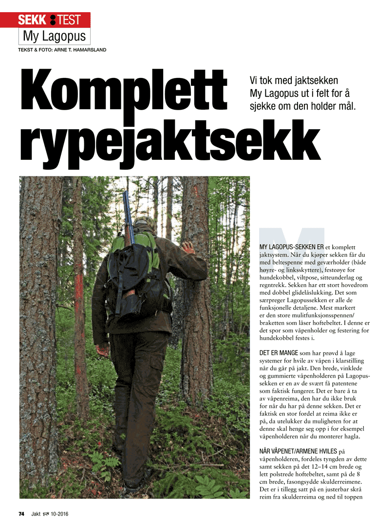 Test i bladet Villmarksliv, nr 10 2016