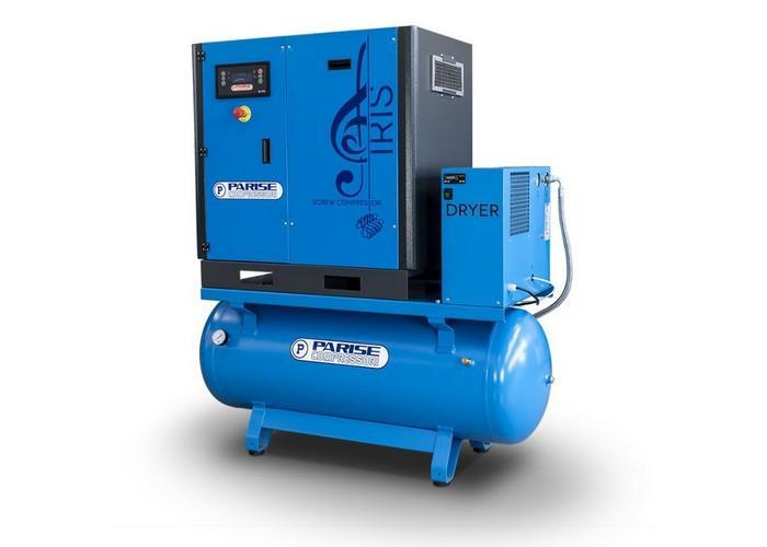 PARISE Ruuvikompressori 5,5 Kw, 840L/min, 8bar, säiliöllä ja kuivaimella MLX7,5S270-D-08