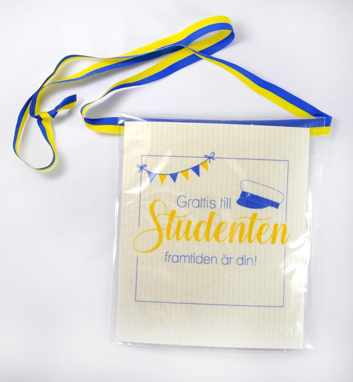 Disktrasa med band, Studenten, vit med blå/gul tex