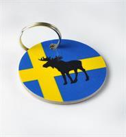 Nyckelring, Älg, svenska flaggan