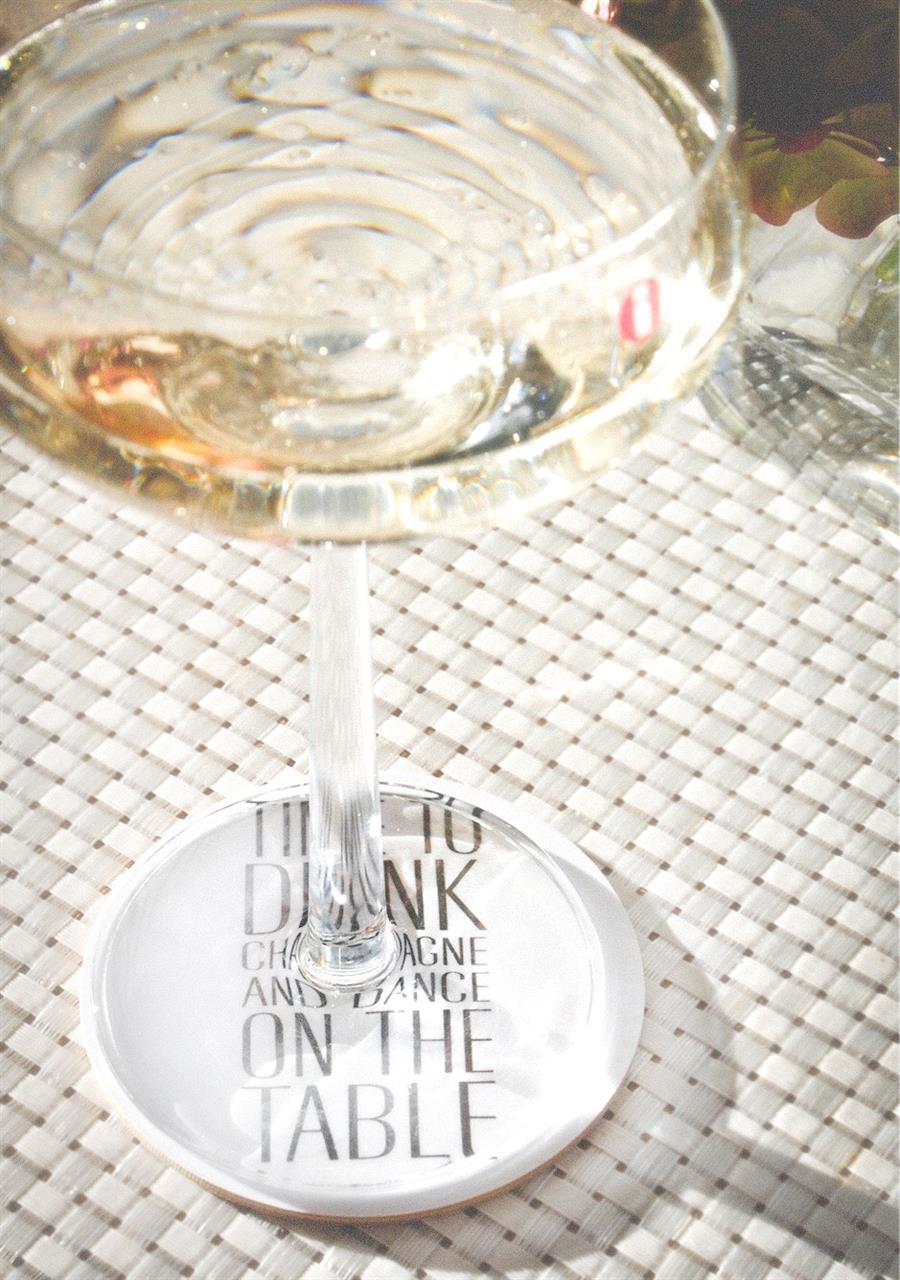 Glasunderlägg 4-p, Time to drink, vit/svart text