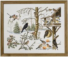 Fågelbord i vinterträdgård