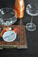 Glasunderlägg 4-p, Drink up, svart-vit/vit-svart