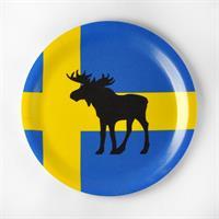 Glasunderlägg kant, Älg, svenska flaggan