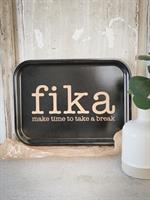 Bricka 27x20 cm, Make time FIKA, svart/guldtext