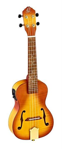 Ortega RUSL-HSB. F-hole Concert ukulele med mik, med bag