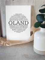 Trätavla A4, Öland, vit/svart text