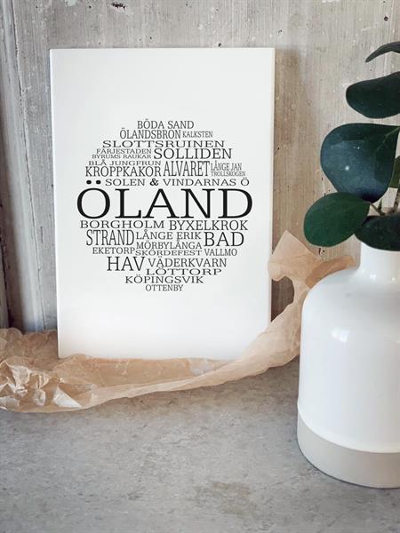Trätavla A5, Öland, vit/svart text