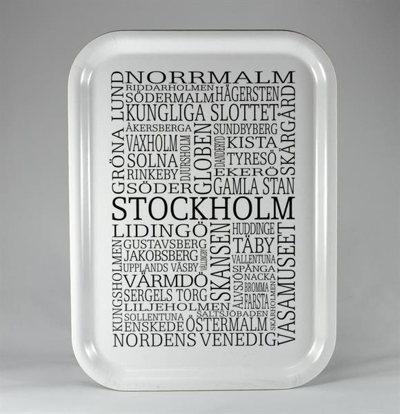 Bricka 27x20 cm, Stockholm, vit/svart text