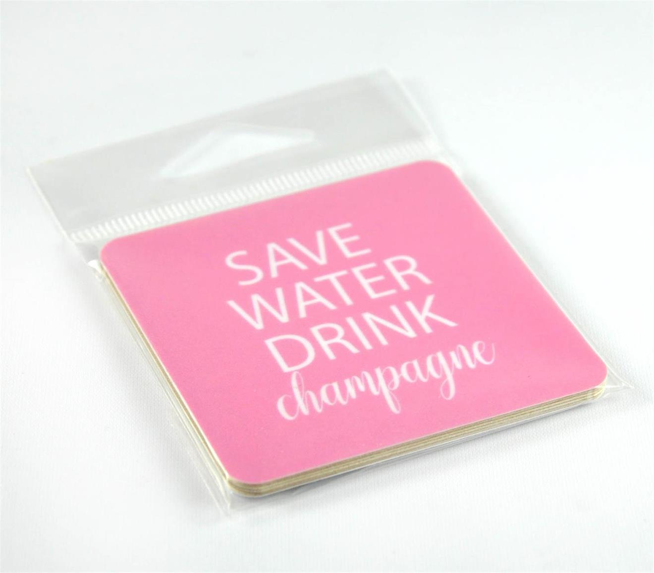 Magneter, Save water, rosa/vit text