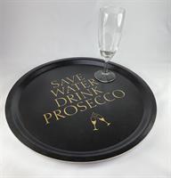 Bricka rund 31 cm, Prosecco, svart/guldtext