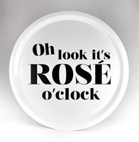 Bricka rund 31 cm, Rose o clock, vit/svart text