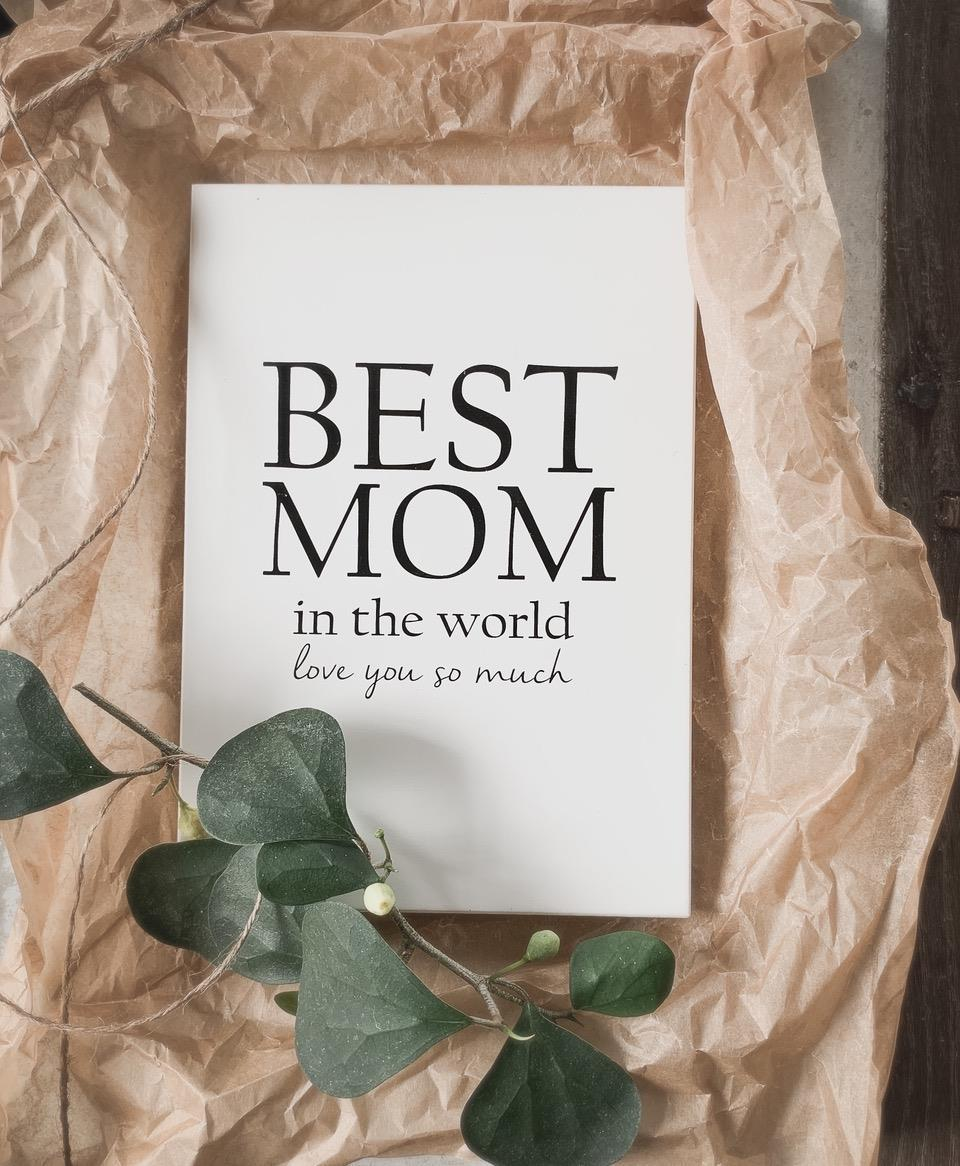Trätavla A5, Best Mom, vit/svart text