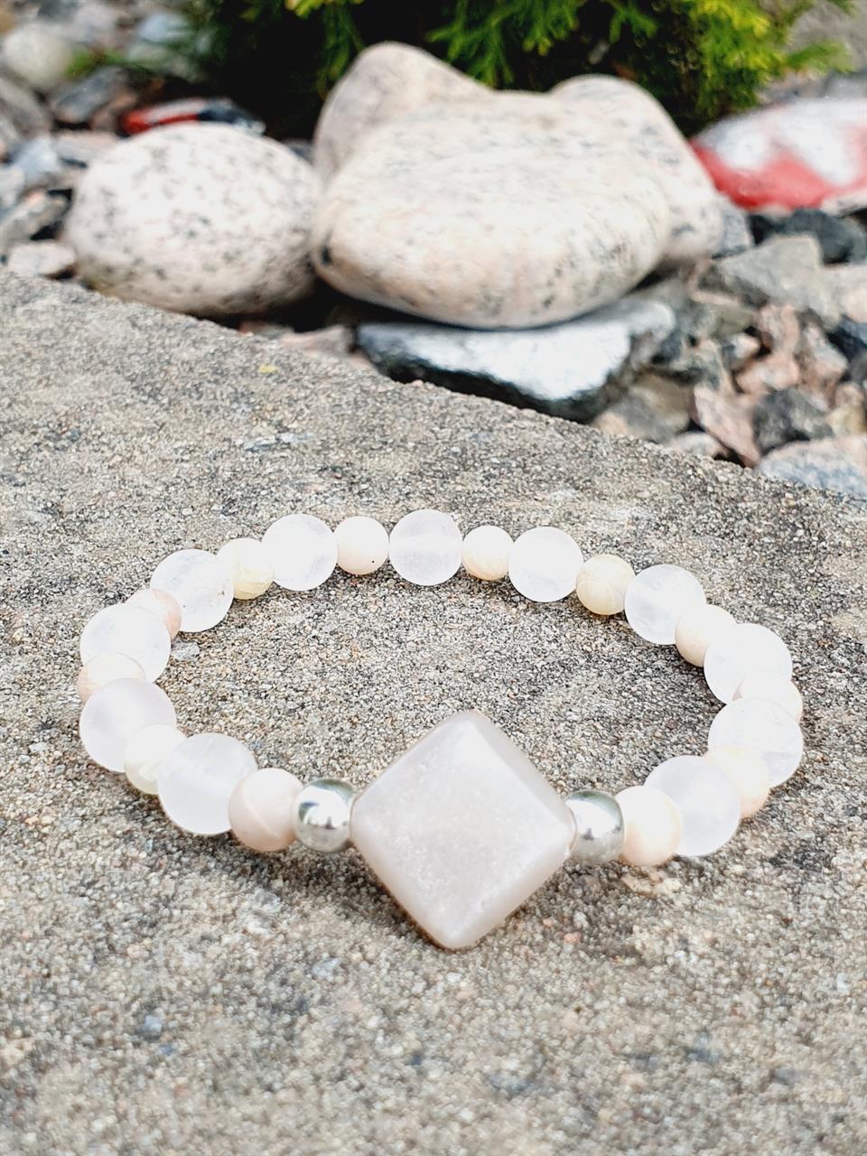 Pärlarmband stenar- solsten och rosenkvarts