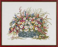 Tavla blommsterkorg linne