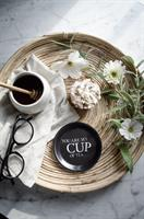 Glasunderlägg kant, Cup of tea, svart/vit text