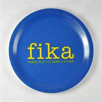 Glasunderlägg kant, Make time FIKA, blå/gul text