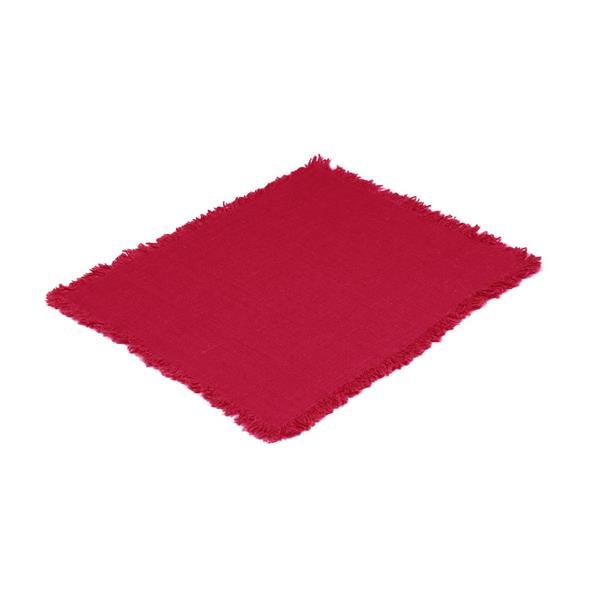 Tablett Rustik röd dahlia, med frans