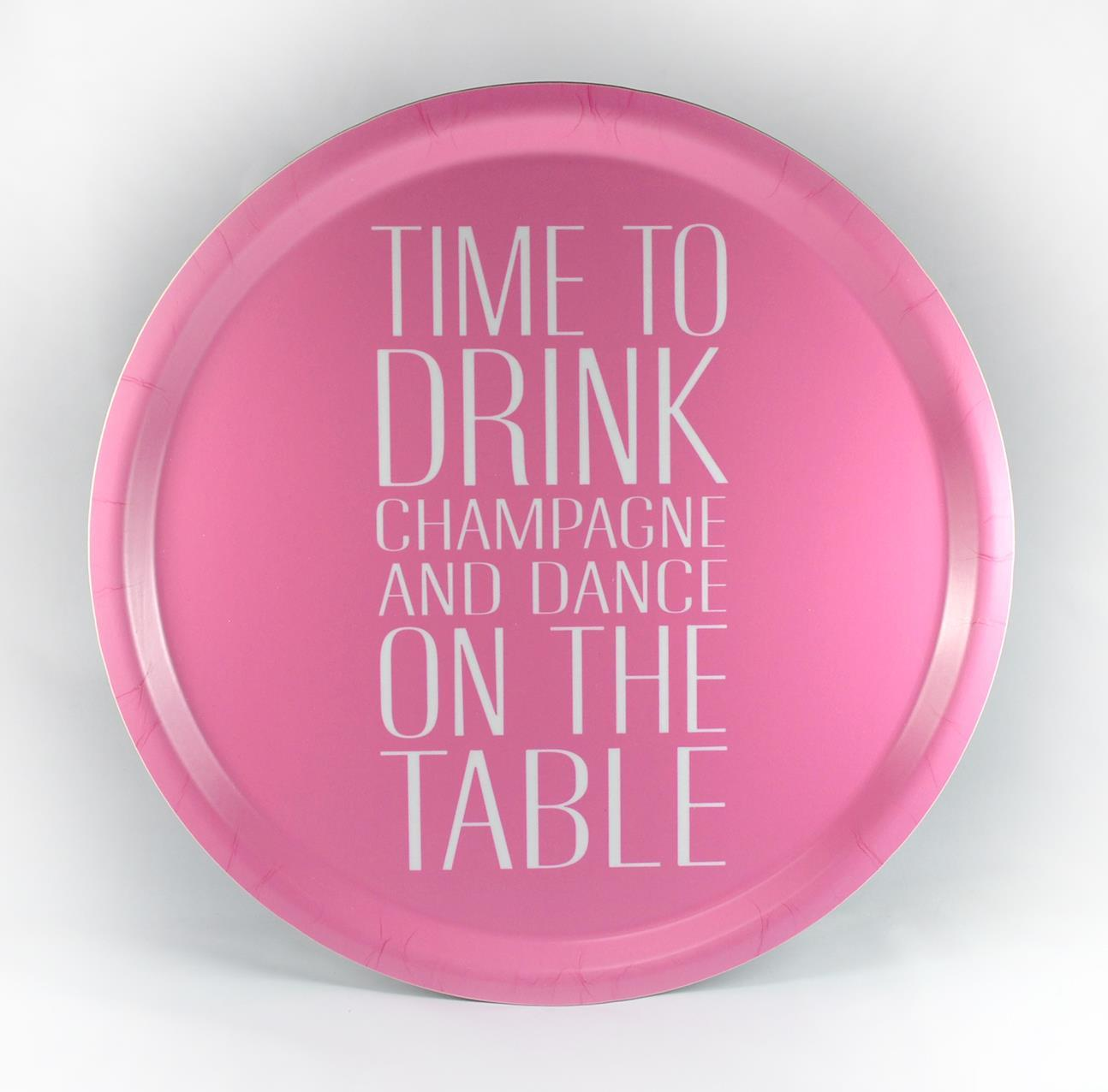 Bricka rund 31 cm, Time to drink, rosa/vit text