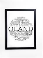 Poster 30x40 cm i ram, Öland, vit/svart text