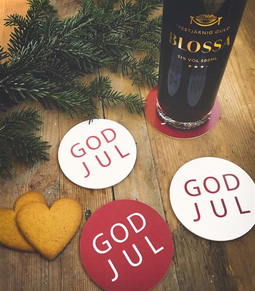Glasunderlägg 4-p, God Jul, röd/vit, vit/röd text