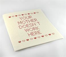 Disktrasa, Your mother doesnt, vit/röd text