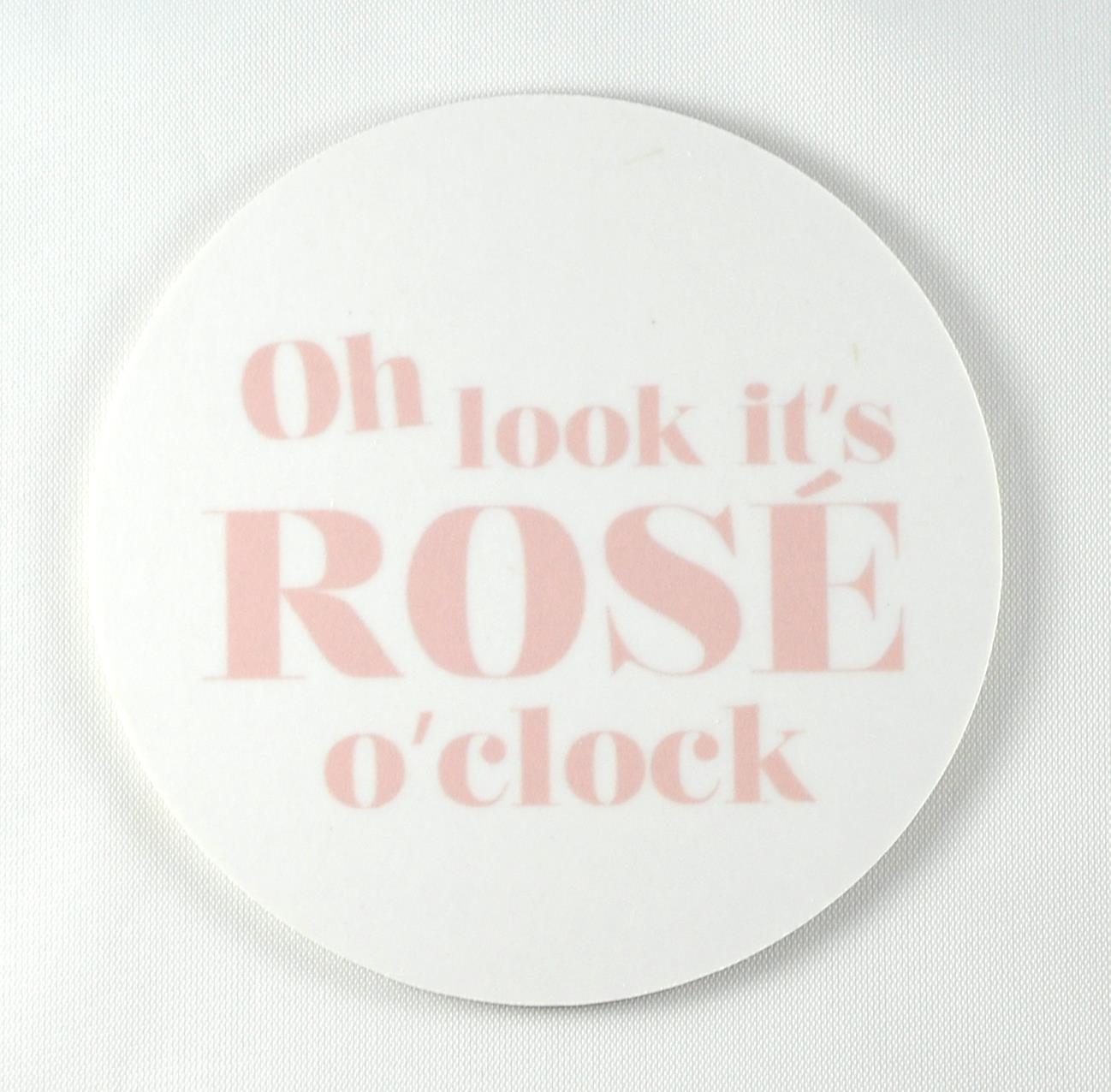 Glasunderlägg 4-p, Rose o clock, vit/rosa text