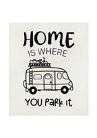 Disktrasa, Home is/Husbil, vit/svart text