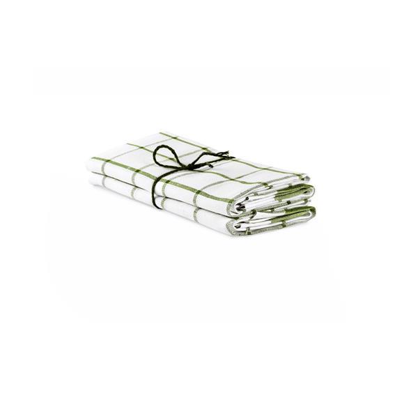 Handduk Köksruta benvit-bladgrön