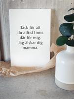 Trätavla A5, Tack mamma, vit/svart text