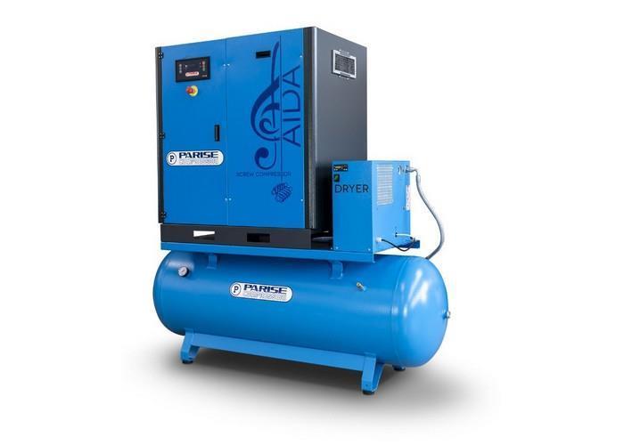 PARISE Ruuvikompressori 15 Kw, 2200L/min, 8bar, säiliöllä ja kuivaimella MLA20S270-D-08