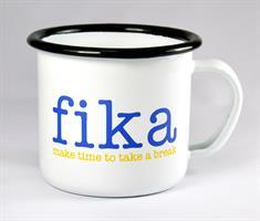 Emaljmugg, Make time Fika, vit med blå/gul text