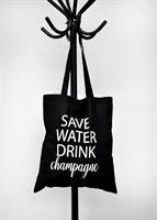 Tygkasse, Save Water, svart/vit text