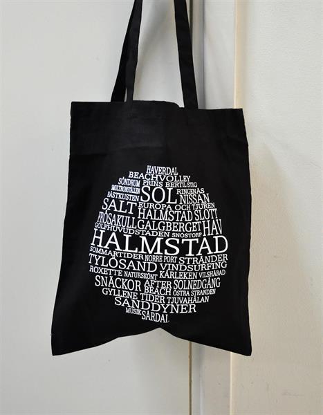 Tygkasse, Halmstad, svart/vit text