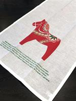 Kökshandduk, Dala horse, vit/rött tryck