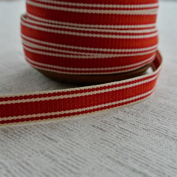 Röd/vit randigt bomullsband 11mm