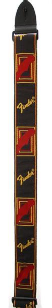 "Fender 2"" monogrammed strap BK-YL-RD"