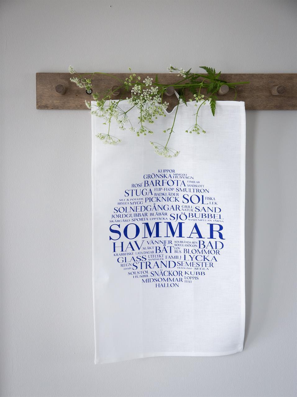 Kökshandduk, Sommar, vit/blå text