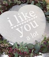 Disktrasa-hjärta, I like you, grå/vit text