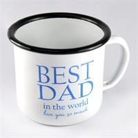 Emaljmugg, Best Dad, vit/blå text